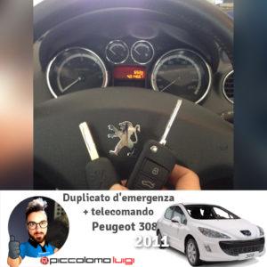 Duplicato d'emergenza + telecomando Peugeot 308 2011